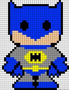 Patrón o esquema de punto de cruz para hacer batman y robin. También valido para hama beads