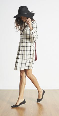 Admit it, sometimes when you're on the hunt for that perfect gift, you end up finding the most irresistible gift… for ahem, yourself. With its split color and trapeze silhouette, this pintuck-yoke dress is plaid perfection. (And after all that running around and gift-giving, you deserve a treat!)