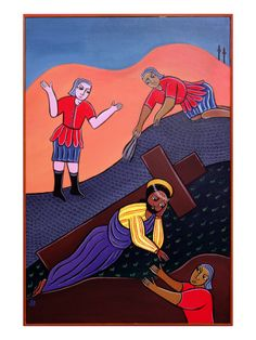 Jesus Falls a Second Time, No. 7 in 14 Stations of the Cross Series, 2002 by Laura James