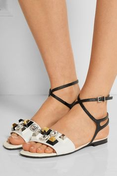 Heel measures approximately 10mm/ 0.5 inches White leather, black and cream lizard-effect patent-leather Buckle-fastening ankle strap Made in Italy