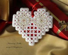 Hardanger heart Christmas ornament