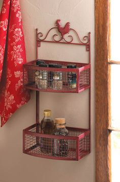 Decorative red rooster themed, 2 tier wall basket shelf. This charming red rooster accent wall basket will look great in your country kitchen.