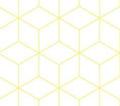 Zilverblauw behang Hexagonal - geel - Femkeido Shop