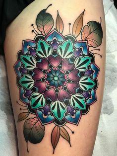 Flower Mandala Tattoo Artist: Katie McGowan 🎀 Little Rock, Arkansas 🌙 Blac. Flower Mandala Tattoo, Colorful Mandala Tattoo, Mandala Tattoo Shoulder, Flower Tattoos, Shoulder Tattoos, Funky Tattoos, Cute Tattoos, Beautiful Tattoos, Forearm Tattoos