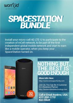 SPACE STATION BUNDLE ( HUGE SAVING FOR US THAT JOIN ! )  Save $1000+ * Per Year on Mobile.....Never Buy A New Phone Again!  Space Station is powered by mCell 5GHz, a proprietary technology that uses Wireless 4G LTE at high speed. This is typically reserved only for mobile operator licensees, but here it has been redesigned to work on free frequencies to 5GHz, typically used by Wi-Fi.  More Info: http://ourincomeopportunity.com   Recorded Webinar: https://www.youtube.com/watch?v=fzERa4l