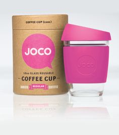 JOCO 12oz glass reusable coffee cup pink.  www.jococups.com $24.95 AUD - Made from Borosilicate Glass - Anti-Splash Silicone Lid - Thermal Silicone Sleeve - Standard Barista Sizing - Dishwasher & Microwave Safe - Freezer Safe - BPA Free & Food Safe #pink #reusablecup #glass #coffee #tea