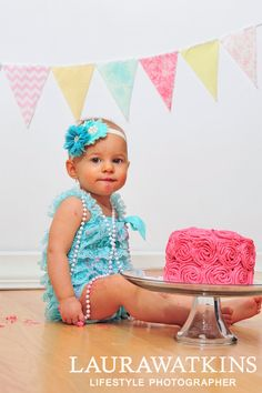 aa71a2e94d4f Girls cake smash outfit. Aqua lace romper. Baby by KadeesKloset Baby Girl  1st Birthday