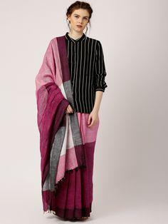 gocoop Burgundy & Pink Bhagalpuri Traditional Saree