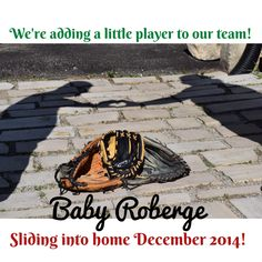 Created for my sister and her husband. A little creative input between us all and this is what we came up with! Baseball Pregnancy Announcement, Pregnancy Reveal Photos, Be My Baby, Future Baby, Babyshower, Fun Stuff, Sisters, Husband, Babies