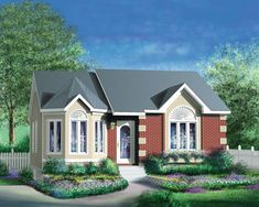 Front of Home - 126D-0397   House Plans and More. 967 Sq ft. 2 bed Cottage Floor Plans, Cottage House Plans, Cottage Homes, House Floor Plans, House Plans And More, Victorian Cottage, Cottage Exterior, Traditional House Plans, European House