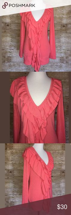 """Boston Proper Romantic Ruffle Cardigan XS Boston Proper Ruffle Cardigan Sweater • Gorgeous bold coral color • Perfect for a romantic, boho, or lagenlook styles. Also great for spring and Easter! • Size XS Fits a size 2-4 (please see measurements below) • Armpit to armpit: 17""""     Shoulder to hem: 26"""" • In gently used condition. There is a small discoloration spot under the sleeve. Please see pictures. Boston Proper Sweaters Cardigans"""