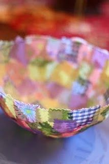 Fabric decoupage over a balloon. This tutorial for an Easter basket uses little fabric squares which seems easier than strips