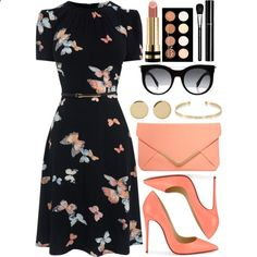 Floral dress - spring outfit A fashion look from February 2017 featuring Christian Louboutin pumps, Dorothy Perkins clutches and Magdalena Frackowiak earrings. Browse and shop related look… Work Fashion, Runway Fashion, Spring Fashion, Fashion Looks, Fashion Outfits, Womens Fashion, Fashion Trends, Trendy Fashion, Fashion Fashion