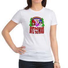 Boyz In The Wood T Shirt  #parody #spoof #fantasy #mythology #apeman #sasquatch #monkey #bigfoot #unicorn #dwarf #gnome #rainbow #cartoon #characters #funny #humor #drawing #illustration #shirts #juniors