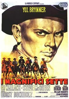 """great old movie poster for """"the magnificent seven!""""    LOVE YUL AS CHRIS!"""