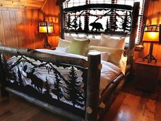 I love this log bed just needs horses & wolves instead of moose Log Bed Frame, Log Cabin Furniture, Western Furniture, Log Home Living, Log Home Decorating, Interior Decorating, Cabin Interiors, Lodge Decor, Log Homes