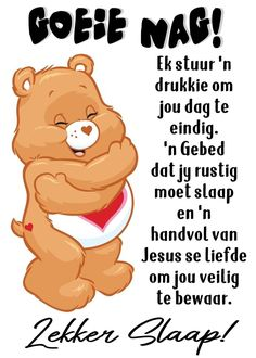 Beautiful Good Night Images, Afrikaans, Good Night Greetings, Goeie Nag, Sleep Tight, Messages, Winnie The Pooh, Disney Characters, Fictional Characters
