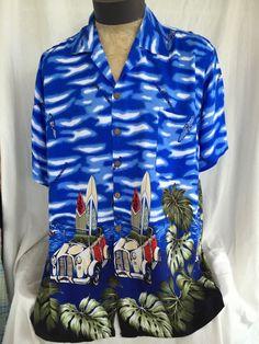 Hawaiian Shirt Men's Size XL Car Surfboard Blue Tropical Republica Dominicana #Walquidia #ButtonFrontHawaiian
