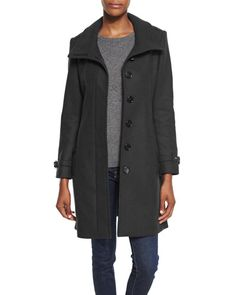 BURBERRY BRIT GIBBSMORE WOOL-BLEND SINGLE-BREASTED COAT, BLACK. #burberrybrit #cloth # Burberry Coat, Cashmere Coat, British Style, Wool Blend, Raincoat, Single Breasted, Clothes For Women, Trench Coats, How To Wear
