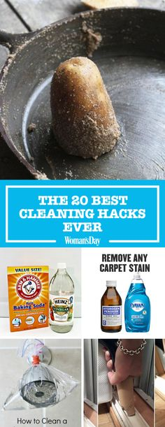 Make your life easier with these genius cleaning hacks. These tricks will take the pain out of cleaning year house with items you never knew you could clean with. Clean your rusty cast iron skillet with a potato, salt and vegetable oil. This trick will return your rust-covered iron skillet to its former beauty.