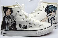 Kuroshitsuji Shoe Art. Sebastian and Ciel. Black Butler. Awesome hand painted shoes.