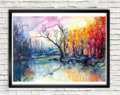 Colorful tree landscape watercolor painting print by SlaviART