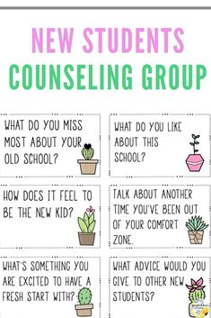 New Students Friendship Group – Growing Friends Counseling Group New Students Friendship Group – Growing Friends Counseling Group,School Counselor Counseling group for new students. This group is designed to help new students feel welcome. Elementary School Counseling, School Social Work, School Counselor, Elementary Schools, Icebreaker Activities, Counseling Activities, Group Counseling, Counseling Office, Leadership Activities