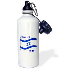 3dRose Image of Flag of Israel With Its Day Of Birth, Sports Water Bottle, 21oz, White