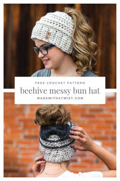 Free Crochet Pattern for the Chelsea Beehive Messy Bun Hat from Made with a Twist! It even comes with an optional upgrade to make it with stripes and a bow! Messy Bun Anleitung, Free Crochet, Crochet Hats, Beginner Crochet, Hat Crafts, Crochet Fashion, Diy Fashion, Girl With Hat, Single Crochet