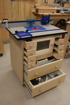 Customize your routing table with built-in drawers to hold bits. #Woodworking #Garage #Tools