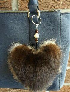 Items similar to Heart-shaped bicolor Pom Pom/Real/Genuine fur bag charm/Fur Keychain/jewelry bag/fur bag jewels/Canada Quebec/beige/dark brown/pastel mink on Etsy Fur Purse, Fur Bag, Vintage Fur, Vintage Purses, Leather Jewelry, Leather Craft, Bijoux Wire Wrap, Fur Accessories, Fake Fur