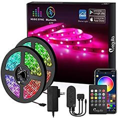Upgraded 2020 LED Strip Lights Kit 32.8ft w//Extra Adhesive 3M Tape Room Flexible Changing Multi-Color Lighting Strips for TV Non-Waterproof Professional Lighting 300 LEDs RGB Light 44 Key Remote