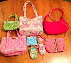 Lot Of 9 Vera Bradley Purses Wallet Phone Cases Coin Keychain Pinks and Blues Only $20 ..or buy it now $65