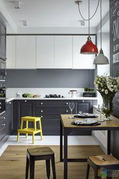 Красивая уютная кухня в стиле модерн с яркими акцентами. Nordic Interior, Interior Design Kitchen, Interior Decorating, Little Big House, Sweet Home, Cocinas Kitchen, Scandinavian Furniture, House Rooms, Kitchen Cabinets
