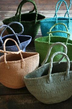 "Bags ""Fill the baskets with summers bounty ."", ""Totes & Bags for summer"", ""This post was discovered by Bellflower Textiles"", "" X ღɱɧღ"" My Bags, Purses And Bags, Basket Bag, Summer Bags, Knitted Bags, Basket Weaving, Straw Bag, Wicker, Tote Bag"