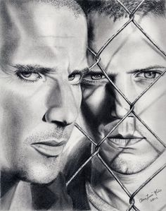 I decided to draw this because I freaking LOVE prison break (even though it ended a long time ago), one of the best series I've ever seen. So I was greatly inspired by it and chose the best cover (. Prison Art, Broken Drawings, Pencil Drawings, Art Drawings, Prison Drawings, Lincoln Burrows, Wentworth Miller Prison Break, Modern Teen Bedrooms, Sergio Ramos