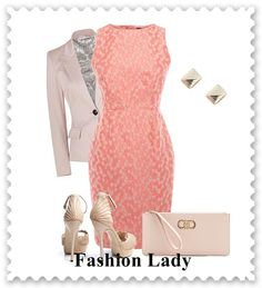 Coral dress & khaki great look for Spring work attire