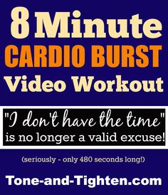 Tone & Tighten: Quick Sweat Cardio Burst Video - Fast At-Home Cardio Workout - No Equipment Required! I can handle only 8 minutes right? 6 Pack Abs Workout, Plank Workout, Hip Workout, Workout Fitness, Fitness Routines, Cardio Workout At Home, Workout Days, At Home Workouts, Cardio Workouts