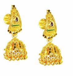 Riyo Plain Gold Plated Plain Earring classy handmade wedding jewellery GPEJHU-120038 Earrings on Shimply.com
