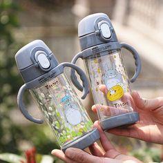 Cartoon Child Straw Cup Plastic Leakproof Portable Handle Kids Water Bottle Sport Kettle Baby Handgrip Milk Drinking Cup Totoro