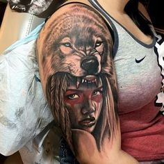 Taino indian tattoos - the timeless style of native american Wolf Tattoo Back, Wolf Tattoo Sleeve, Sleeve Tattoos For Women, Wolf Girl Tattoos, Indian Girl Tattoos, Wolf Headdress, Headdress Tattoo, Native American Tattoos, Native Tattoos