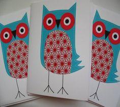 red, aqua and owls....love