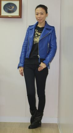 Leather Jacket, Suits, Jackets, Blue, Fashion, Studded Leather Jacket, Down Jackets, Moda, Leather Jackets
