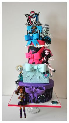 Monster High Birthday Cake - This is a cake I made for my daughter's 7th Birthday Party. She loves Monster High and helped in the design.    My daughter requested to use her Monster High Toy Dolls (which are all new) on her cake. No complains on that...lol!    The Monster High Sign is made of gumpaste