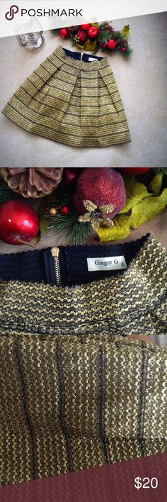 Ginger G Full Gold/Black Skirt Gorgeous Black and Gold Skirt! Great for the holidays or New Years! NWOT never used  'Tis the season to make an offer. Indeed it 'tis Ginger G Skirts Midi