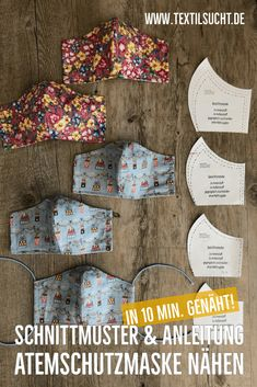 Nähen Sewing respiratory protection mask: free instructions for sewing a face mask + sewing pattern Diy Mask, Diy Face Mask, Easy Face Masks, Diy Furniture Redo, Techniques Couture, Diy Couture, Free Sewing, Fabric Crafts, Free Pattern