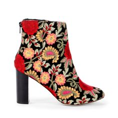 Olympia Embroidered Bootie - Red Multi Floral-5