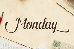 Monday (20% off) ~ Monday is a surreal script that combined brush lettering with traditional hand writing. It is multipurpose and flexible, make it easy to match with another typefaces to create some beautiful project such as wedding invitation, vintage design, greeting card, poster, book cover, illustration, etc.