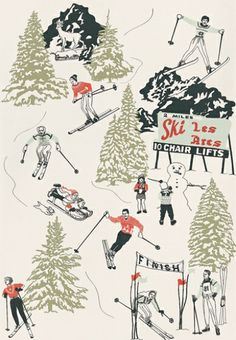 Winter Sports - Dupenny Wallpapers - A high quality wallcovering showing designs of winter sports with intricate detailing made with inks. Hand-made in the UK.