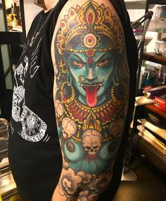 What does kali tattoo mean? We have kali tattoo ideas, designs, symbolism and we explain the meaning behind the tattoo. Kali Tattoo, Shiva Tattoo Design, Mantra Tattoo, Hindu Tattoos, God Tattoos, Body Art Tattoos, Sleeve Tattoos, Tattoos For Guys, Tatoos